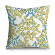 FabricMCC Moroccan Damask Teal Yellow Square Accent Decorative Throw Pillow Case Cushion Cover 18x18