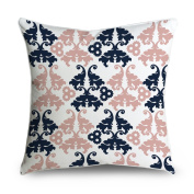 FabricMCC Navy Blue and Pink Floral Damask Square Accent Decorative Throw Pillow Case Cushion Cover 18x18