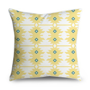 FabricMCC Yellow Teal Diamond Geometric Square Accent Decorative Throw Pillow Case Cushion Cover 18x18