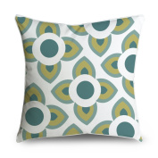 FabricMCC Teal White Yellow Flower Square Accent Decorative Throw Pillow Case Cushion Cover 18x18