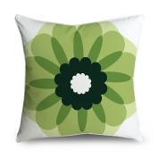 FabricMCC Abstract Flower White and Green Square Accent Decorative Throw Pillow Case Cushion Cover 18x18