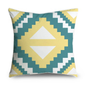 FabricMCC Teal Yello Geometric Aztec Design Square Accent Decorative Throw Pillow Case Cushion Cover 18x18