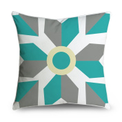 FabricMCC Geometric Bold Retro Funky Yellow Teal Grey White Square Accent Decorative Throw Pillow Case Cushion Cover 18x18