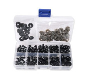 1 Box(100PCS) 6-12mm Plastic Safety Eyes Noses Kits with Washers for DIY Sewing Crafting Buttons for Puppet Bear Doll Animal Stuffed Toys