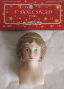 FIBRE Craft PACK of 1 Vinyl 'ANGEL' DOLL HEAD 7.6cm w Moulded GOLD Tone HALO on Head