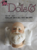 MANGELSEN'S Craft SET of 1 PORCELAIN SANTA Doll HEAD 2.5cm - 2.2cm (Bald on Top) and PAIR of White MITTEN HANDS Each Mitten Hand 2.5cm - 1cm Long