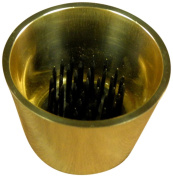JWL (1) Solid Brass Water Holding Ikebana Flower Cup 6cm Tapered Polished Brass Colour Pin Frog Holder