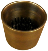 JWL (1) Solid Brass Water Holding Ikebana Flower Cup 6cm Tapered Copper Antique Colour Pin Frog Holder