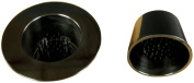 JWL (2) Solid Brass Water Holding Ikebana Cups 8.9cm Lip & 6cm Tapered Black Nickel