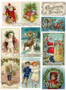 Victorian Vintage Christmas Card #102 Printed Collage Sheet 22cm x 28cm