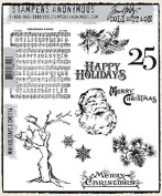 Tim Holtz Cling MINI HOLIDAYS 3 Rubber Stamp Set CMS114 Stampers Anonymous supplier_paperdelightboutique