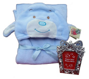 Puppy dog Soft Plush baby hood blanket keepsake bundle-2 items: