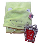 Froggy soft plush baby hood blanket keepsake bundle-2 items:
