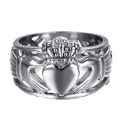 Chryssa Youree Jewellery Women Men's 15 MM Stainless Steel Crown Claddagh Ring with Celtic Knot Eternity Design 7 to 12 (FR-01)