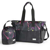 Stylish Nappy Bag Organiser for Moms, Plus Baby Tote Insulated Bottle Sack - Rainbow + Black