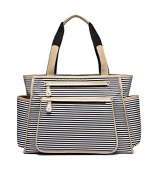 BayB Brand Colorland Nappy Tote Bag - Black Stripes and Camel