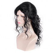 SiYi Fashion Celebrity dance king Michael Jackson Black Long Loose Curly Wigs
