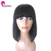 Human Hair Bob Wigs with Bangs Brazilian Yaki Machine Made Glueless Short Wigs