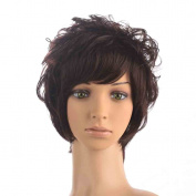 Namecute Deep Brown Short Wig Top Kinky Curly Hair Replacement Wigs Synthetic Fibre with Fringe Bangs