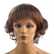 Namecute Ombre Brown Short Wig Kinky Curly Hair Replacement Wigs for Women Heat Resistant Synthetic Fibre with Fringe Bangs+Free Wig CAP