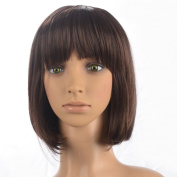 Namecute Ombre Brown Short Wig Students Style Straight Hair Replacement Wigs Heat Resistant Synthetic Fibre with Full Bangs+Free Wig CAP