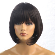 Namecute Light Black Short Wig BOB Straight Hair Replacement Wigs Heat Resistant Synthetic Fibre with Full Bangs+Free Wig CAP 30cm