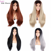 Life Diaries 250%Density Two Tones Fashion Long Straight 10%Human Hair+90%Heat Resistant Fibre Dark Roots Ombre Hand Tied Glueless Lace Front Synthetic Wig For Women