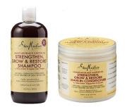 Shea Moisture Jamaican Black Castor Oil Combination Pack – 480ml Strengthen, Grow & Restore Shampoo & 470ml Strengthen, Grow & Restore Leave-In Conditioner