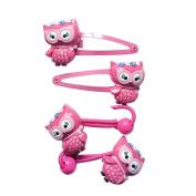 Lovely Owl Hair Clip Hair Holder Set Girl Kids Hair Holder Girl's Hair Rope Clips Ponytail Kids Elastic