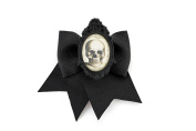 Skull Cameo Black Traditional Hair Bow Clip