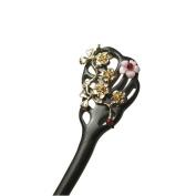 Women Girl Delicate Hair Jewellery Gold Winter Sweet Flower Hairpin Chinese Chignon Retro Stick Bun Updo Pin