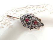Sara Attali Design Lovely Vintage Hair Clip style Charming Antiqe Style Red & Green