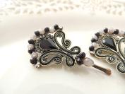 Sara Attali Design Lovely Ethnic Hairpin, Black Bridal Hairpin, Hair Cliip Black