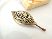 Sara Attali Design Lovely Vintage Hair Clip style Charming Antique Decoreted Casual Leaf Gold