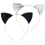Mudder Glitter Cat Ears Headbands Cats Ear Hair Hoops Clasps for Party and Daily Wearing, Black and Silver, 2 Pieces