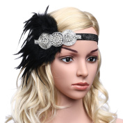 Babeyond Women's Flapper Hair Band 1920 Headpiece Feather Headband Flapper Crystal Headpiece, Black and Silver