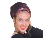 Sara Attali Design Tichel Headscarf Full Hair Covering Unique Lace Head Scarf One Size Bordeaux wine