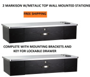 DUO Styling Stations 2 MARKISON BLK W/ METALIC TOP Wall Mount Station for Beauty Salon Styling Spa