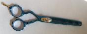 DreamCut Left Handed Professional Razor Thinning Shears Titanium Coated 15cm BLUE