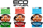 Eco Styler Play and Stay Edge Gel Trio Set (Olive, SeaWeed, and Pure) Includes Free IC Argan Conditioner