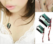 1 Sheet Temporary Tattoo Sticker Bloodstain Wound Decal Fashion for Halloween