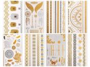 CLOTHOBEAUTY Metallic Temporary Tattoos - 8 sheets (Gold & Silver), 80+ designs