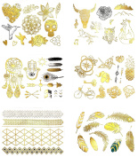 Metallic Temporary Tattoos - 75+ Gold, Silver and Black Designs - Pack of 6 Sheets