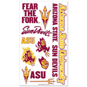 Arizona State University Sun Devils NCAA 10cm x 18cm Sheet of Assorted Temporary Tattoos