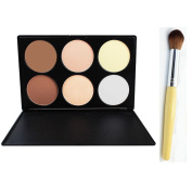 6 Pieces Makeup Contour Kit Highlight and Bronzing Powder Palette + Contour Brush Set