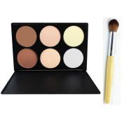 6 Pieces Makeup Contour Kit Highlight and Bronzing Powder Palette + Contour Brush Set