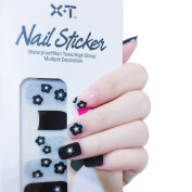 X.T Nail Polish Strips Silver and black flowers Nail Sticker