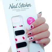 X.T Nail Polish Strips Lips Lipstick Pattern Black Pink Nail Sticker