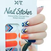 X.T Nail Polish Strips Orange and blue irregular shape Nail Sticker