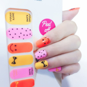 X.T Nail Polish Strips Pink Stars Yellow Smile Pattern Nail Sticker